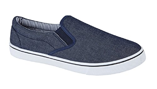Leinwand-schuhe Jungen Slip Auf (Männer Hat Sommer Schuhe ausziehen in Leinwand, Blau - Jean Bleu, 45 EU / 11 UK)