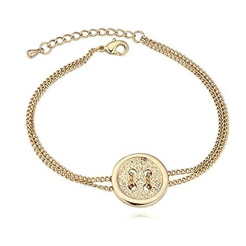 amdxd Bracelet jonc plaqué or charme Bracelet Femme Or Vêtements Bouton réglable avec rallonge, comme un cadeau