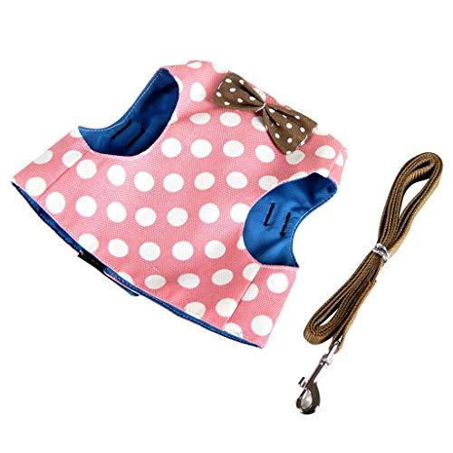 JKRTR Neu Haustier Lieferungen 2019,Einstellbare Pet Breathable Traction Wave Point Bow Brustgurt (Pink,S)