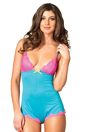 Cute brushed jersey Lace Teddy Neon Pink Blue Grey Body Romper PJ Sleepwear Playsuit Sexy Boyshort 8 10 12