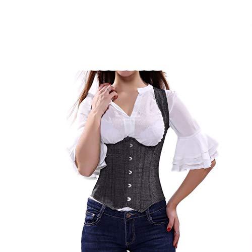 Frauen Bustier Steampunk schnüren sich oben zurück reizvoller Körper-Unterbrustkorsett-Taillen-Cincher-Weste-Grau -