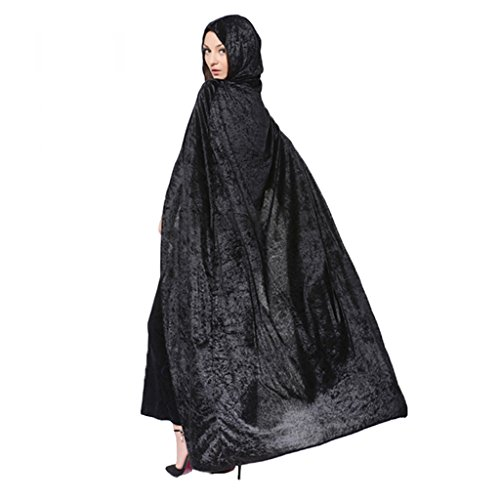 Halloween Umhang Gold Samt Hexe Robe COSPLAY Kleidung mehrfarbig optional ( Farbe : Schwarz (Hexe Black Velvet Kostüme)