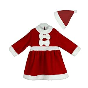 1af66b94275c Buy Baby Girls Christmas Santa Claus Costume Dress + HAT 2-piece ...