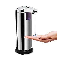 Idea Regalo - opamoo Dispenser di Sapone Automatico, Dispenser Sapone Touchless Distributore di Sapone Acciaio Inox Dispenser Sapone Liquido con Sensore a Infrarossi e Base Impermeabile per Cucina Bagno