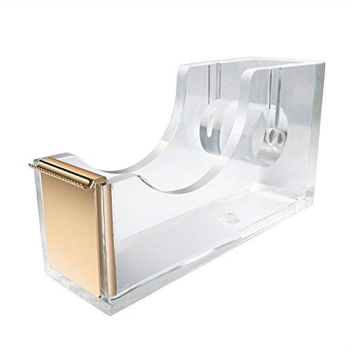 uniqooo Acryl klar gold Schreibtisch Klebeband-Halter, moderne Büro Design Zubehör (Sattel Ferse)