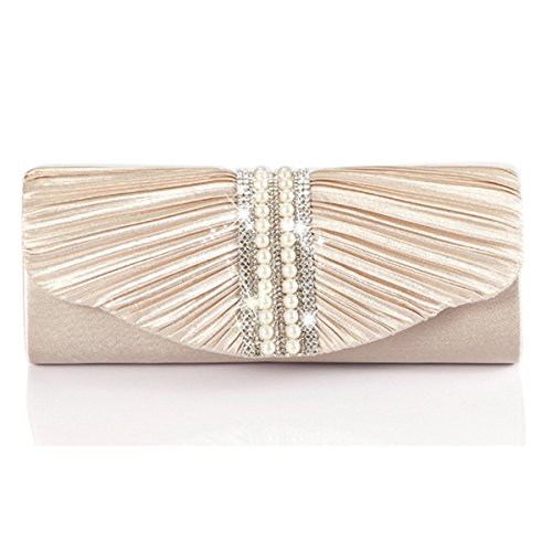Emour Women Satin Pleated Rhinestone Clutch Wedding Bag Bridal Prom Evening HandBag (EMT-017Champagne)