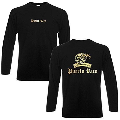 Longsleeve PUERTO RICO harder than the rest langarm T-Shirt Herren Länder Fan Shirt cooles Langarmshirt oversize Übergrößen bis 6XL (WMS08-50b) Mehrfarbig