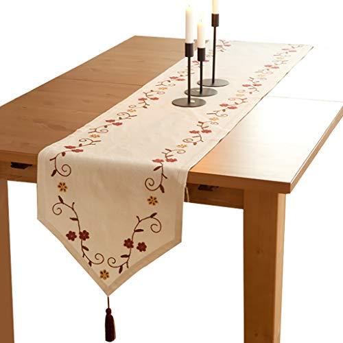 WYQ Rustikale Tischläufer Beige, 3 D Flower Cotton Sackleinen Tischläufer für Familienessen, Zusammenkünfte, Partys, Alltagskleidung 3 Größen erhältlich Table Runner (Farbe : Beige, größe : 180x40cm)
