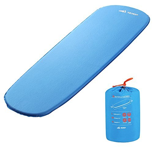 Semoo Selbstaufblasende Schlafmatte für Rucksackreisen, leichte Luftmatratze mit Quick Flow Value