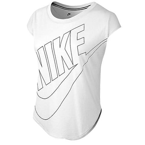 NIKE signal t-shirt à manches courtes pour femme Taille L Blanc - Blanc/Noir