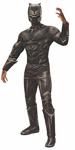 Rubie 's Herren-Oberkörper-Kostüm mit vielen Muskeln Marvel Bürgerkrieg Black Panther Deluxe, Standard, Brust 111,8 cm Taille 76,2-86,4 cm Hosenlänge 83,8 cm (Iron Mask Kostüm)