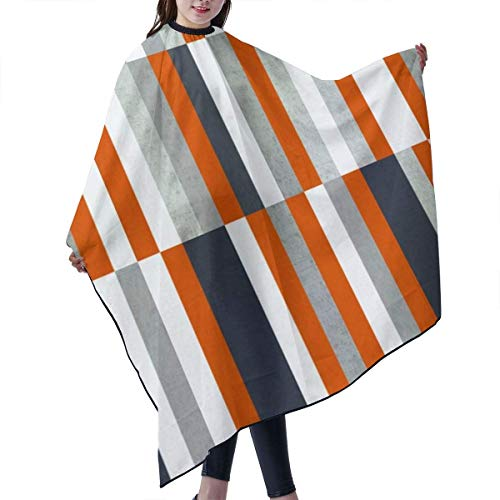 KIMIOE Haar Cape,Frisierumhang,Barber cloak,Orange navy blue gray grey stripes abstract nautical maritime Salon Hair Cutting Gown Barber Cape Cloth -