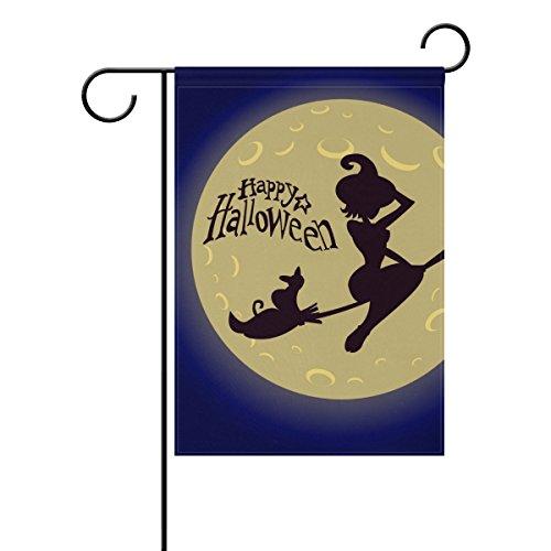 ALAZA Hexe und Vollmond Happy Halloween Deko Doppelseitige -