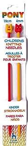 Pony Children's Plastic Knitting Pins/ Knitting Needles 18cm long - 4mm