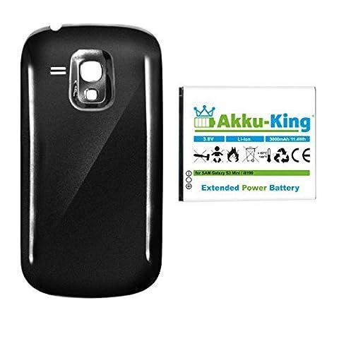 Akku-King Akku für Samsung Galaxy S3 mini, S III mini, GT-I8190, GT-I8200N - ersetzt EB-F1M7FLU - Li-Ion 3000mAh - Akkudeckel schwarz