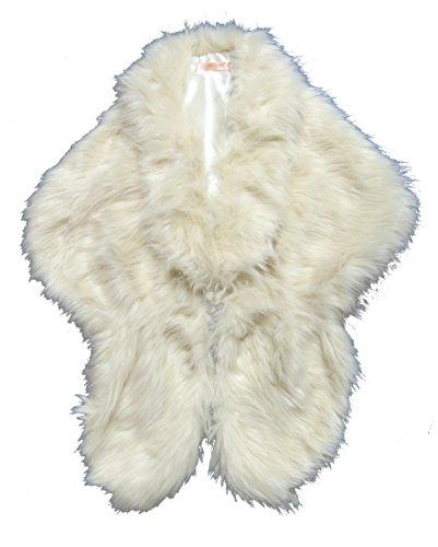 Cape collo bolero, finta pelliccia, colore: nero, Bordeaux o Avorio Avorio
