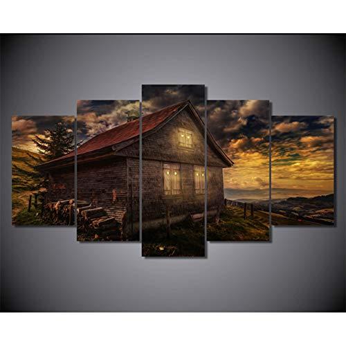 ASDZXC 5 Stücke Set Wandkunst Kabine Leinwand Bilder Sonnenuntergänge Große Wolken Gemälde Im Wohnzimmer Poster Gedruckt Dekoration Kein Rahmen -