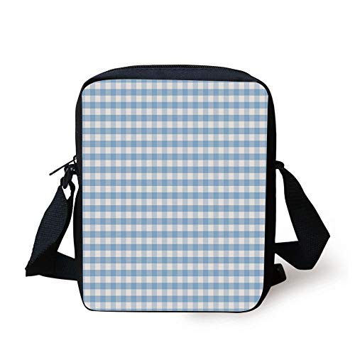 Checkered,Little Squares and Stripes Pastel Color Gingham Repeating Rows Vintage Tile,Light Blue White Print Kids Crossbody Messenger Bag Purse