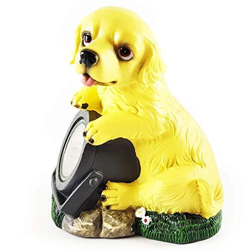 Wichtelstube-Kollektion Solarhund Hund mit Solarlampe Solarfigur für Garten