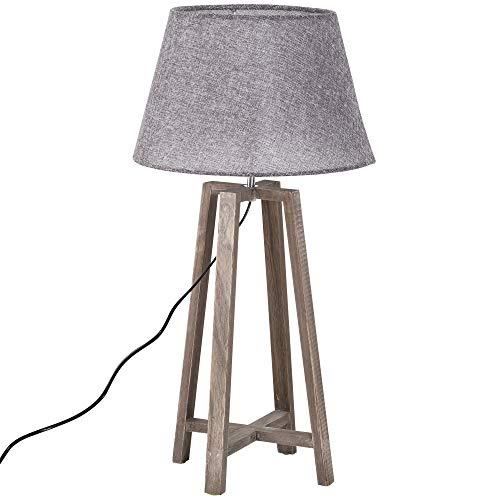 HOMCOM Lámpara de Mesa Vintage con Pies de Madera para Salón o Dormitorio Pantalla de Tela Lino 33x33x68.5cm E27 40W