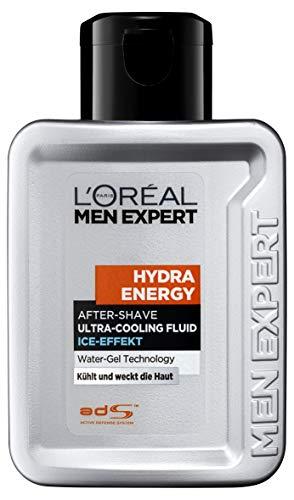 L\'Oréal Men Expert Hydra Energy After-Shave Ultra-Cooling Fluid, kühlt frisch rasierte Männerhaut Beugt Rötungen, Hautirritationen und Pickeln vor (100 ml)