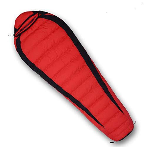TAHRH Schlafsack kleines packmaß,Schlafsack, Outdoor-Klettern, Vier Jahreszeiten für Erwachsene, wasserdichte Daunen @ red_600g_White_Goose_down -