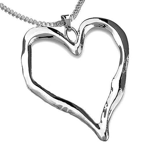 Lagenlook silver plated large heart pendant fashion jewellery long necklace