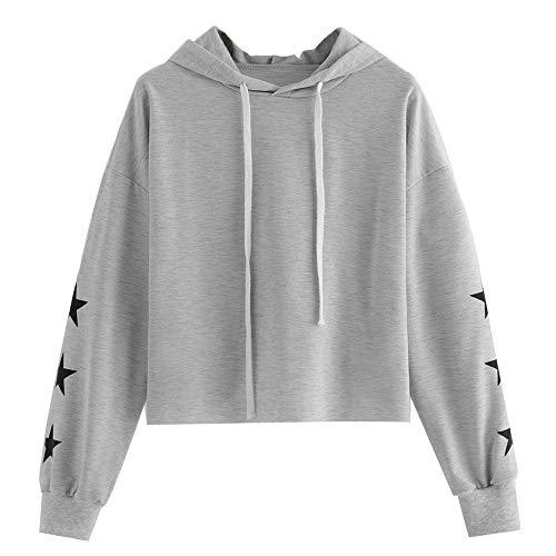 TianWlio Hoodie Pullover Damen Sweatshirt Langarmshirt Bluse Kapuzenpullover Frauen Langarm Star Print Rundhalsausschnitt Kapuzenpullover Bluse Tops