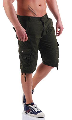 4502 Fashion4Young Herren Bermuda Short Cargo Shorts Freizeithose Baumwollhose Dunkelgrün