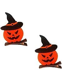 Kanggest.2 Piezas Horquillas Halloween Pumpkin Bat Clips de Pelo Cute Headwear Snap Pasador Pelo para Mujeres niños (Esitilo1)