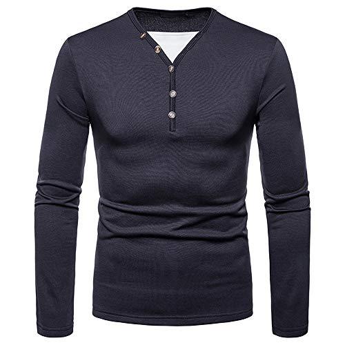 TWBB Herren Bekleidung Gebürstet Sweatshirt Warme Langarmshirt Pullover Oberteile Tops Mit Button