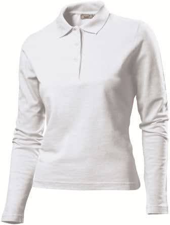 Hanes G139 Ladies Long Sleeved Polo Shirt White XL