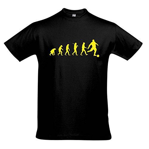 T-Shirt - EVOLUTION - Fußball Sport FUN KULT SHIRT S-XXL , Deep black - gelb , L