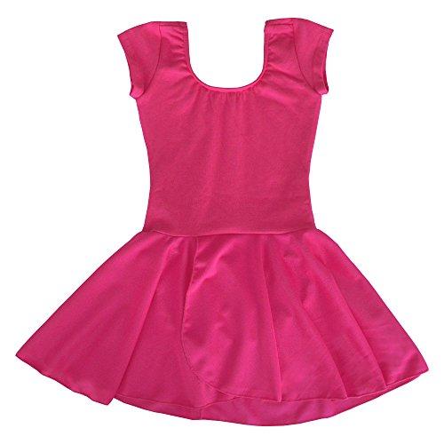Dancina Mädchen Kurzarm Ballettkleid Ballettanzug mit Rock 104/110 (Tanzbekleidung Kinder)