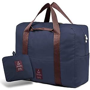 SPAHER Bolsa de Equipaje Bolsas de Viaje Plegable Duffle Bag Ligero Impermeable Organizador de Hombro de Almacenamiento de Transporte de Bolsas para IR de Compras Gimnasio Deportes Camping 40L Armada