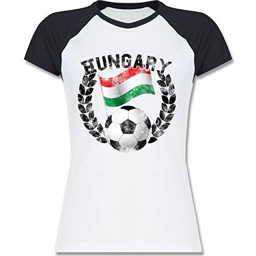 EM 2016 - Frankreich - Hungary Flagge & Fußball Vintage - zweifarbiges Baseballshirt / Raglan T-Shirt für Damen Weiß/Navy Blau