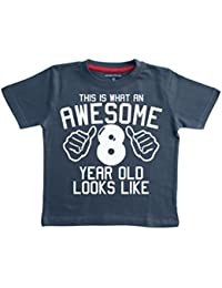 Edward Sinclair This What AN Awesome 8 Year Old Looks Like Navy Boys 8th Birthday T-Shirt In Size 9-11 Years With A White Print T-Shirt