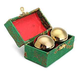 TuToy Golden Chinese Healthy Exercise Stress Massage Metal Balls With Box Baoding