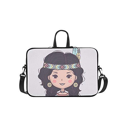 Azteken Kostüm Muster - Mädchen mit Kopfschmuck aus Federn Muster Aktentasche Laptoptasche Messenger Schulter Arbeitstasche Crossbody Handtasche für Geschäftsreisen