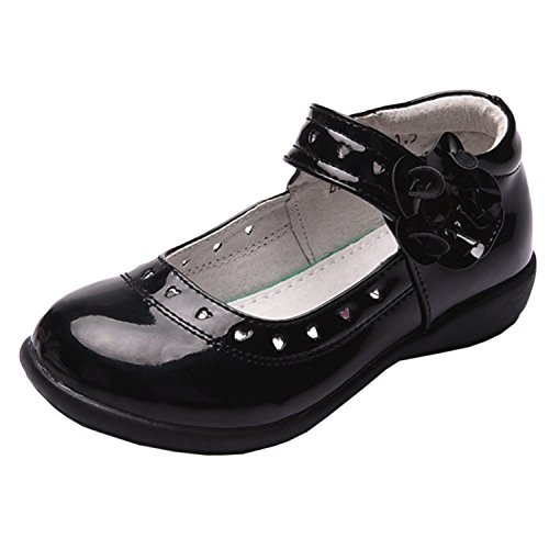 Oasap Girl's Velcro Strap Patent Leather Mary Jane Shoes Black