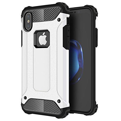 iPhone X Hülle, HICASER Hybrid Dual Layer Rugged Heavy Duty Defender Case [Shock Proof] Drop Resistance TPU +PC Handytasche Schutzhülle für iPhone X Gold Weiß