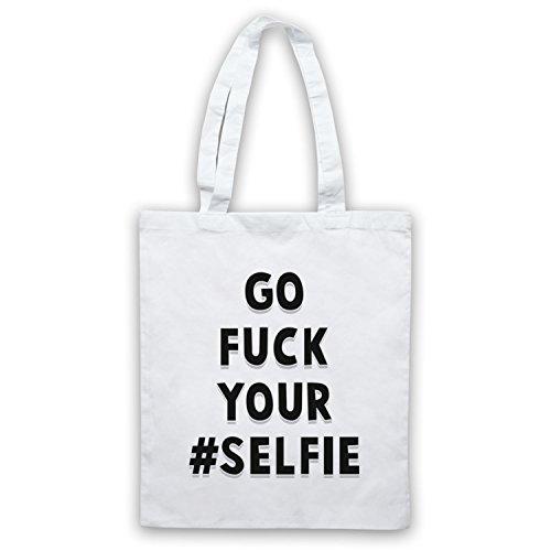 Go Fuck Your Selfie Funny Slogan Umhangetaschen Weis