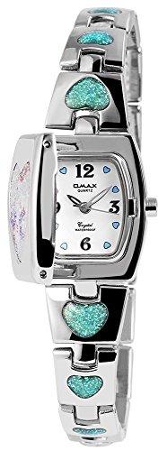 Omax Damen analog Armbanduhr mit Quarzwerk SS1622000321 Metallgehäuse mit Metall Armband in Silberfarbig und Clipverschluss Ziffernblattfarbe Weiß Bandgesamtlänge 19 cm Armbandbreite 15 mm