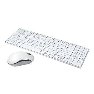 LogiLink ID0109 Clavier + Souris slim sans fil avec 3 Boutons 2,4 GHz Blanc