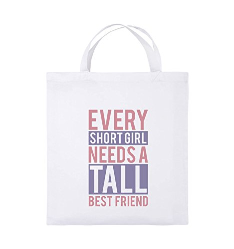 Comedy Bags - Every short girl needs a tall best friend - Jutebeutel - kurze Henkel - 38x42cm - Farbe: Weiss / Rosa-Violet (Baumwolle Custom Fit Shorts)
