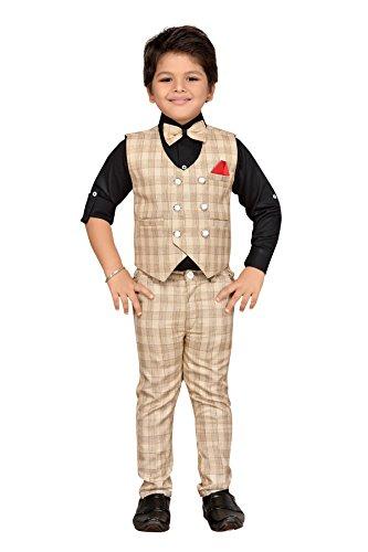 AJ Dezines kids party wear waistcoat suit set for boys (826_CREAM_1)