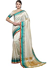 EthnicJunction Women's Art Silk Saree With Blouse (White And Turquoise_EJ1162-1011)