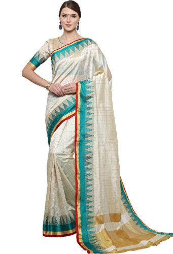 EthnicJunction Women\'s Art Silk Saree With Blouse (White And Turquoise_EJ1162-1011)