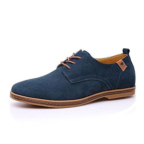 Sine90® Men's Oxford Casual Faux Suede Leather Lace Up Shoes Blue UK 9 / EUR 43 / US 10