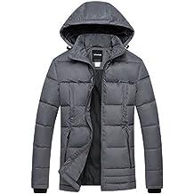 Wantdo Cappotto di Cotone Piumino Cappuccio Fisso Antivento Inverno Uomo 346c6ba86cc